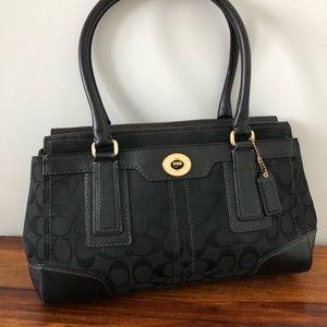 Black Coach Logo print shoulder bag purse